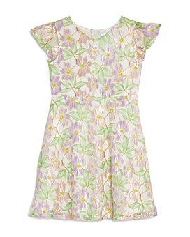 US Angels - Girls' Flutter-Sleeve Floral Lace Dress - Little Kid