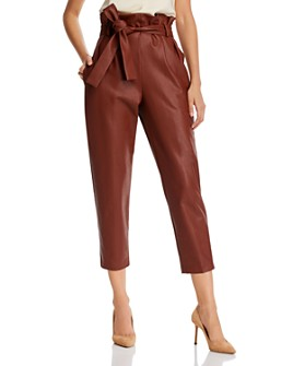 Amanda Uprichard - Tessi Cropped Faux-Leather Paperbag-Waist Pants