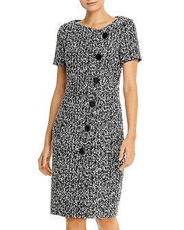 PAULE KA - Asymmetric Button-Detail Tweed Dress