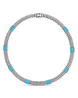 LAGOS - Sterling Silver Caviar Blue Ceramic Beaded Necklace, 16""