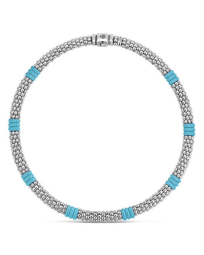 "LAGOS - Sterling Silver Caviar Blue Ceramic Beaded Necklace, 16"""