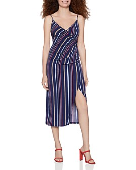 BCBGENERATION - Striped Crossover Midi Dress
