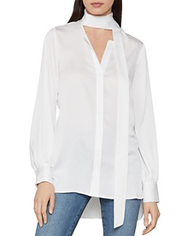 BCBGMAXAZRIA - Tie-Neck Satin Blouse