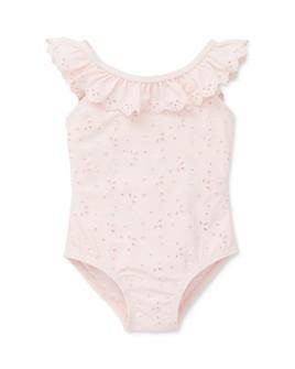 Little Me - Girls Pink Eyelet Swimwsuit - Baby