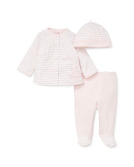 Little Me - Girls' Bunny Cardigan, Footie Pants & Striped Hat Set - Baby