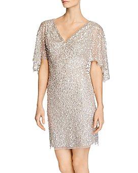 Adrianna Papell - Beaded Cape-Sleeve Dress