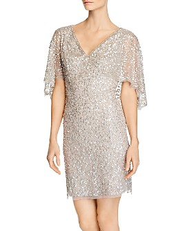 Adrianna Papell - Beaded Cape-Sleeve Dress