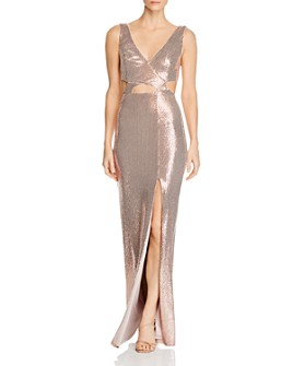 BCBGMAXAZRIA - Sequined Cutout Evening Gown