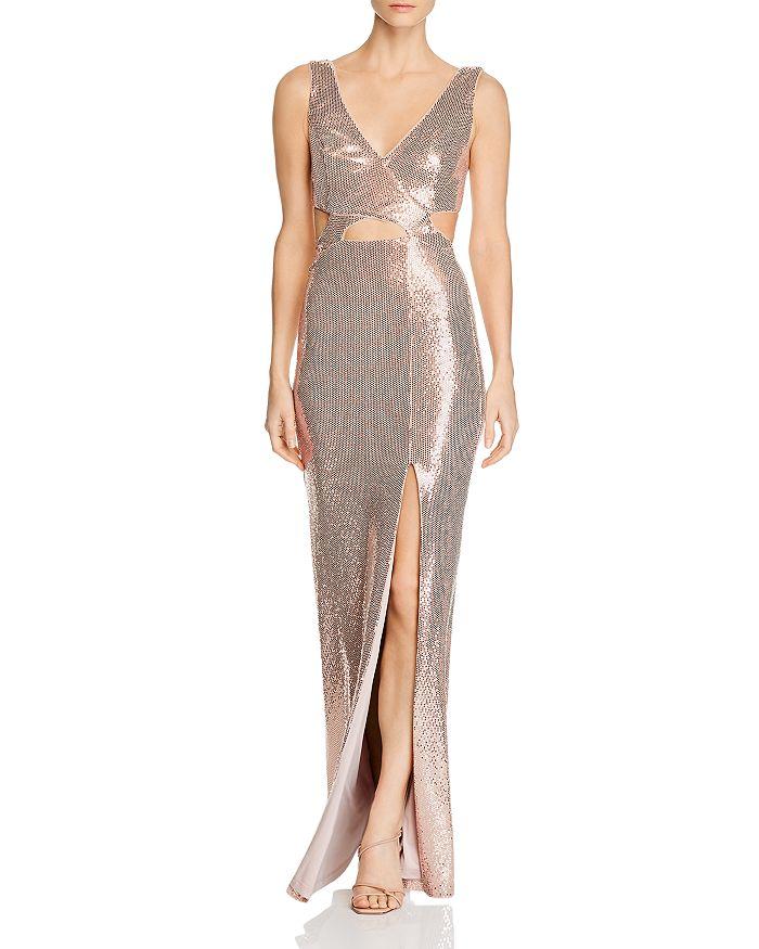 BCBGMAXAZRIA - Sequined Cutout Evening Gown