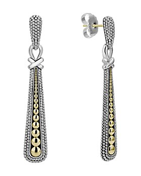 LAGOS - Sterling Silver & 18K Gold Caviar Teardrop Earrings