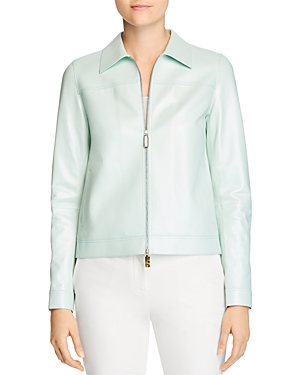 Lafayette 148 New York Nash Leather Zip Jacket-Women