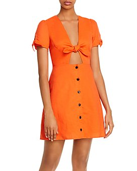 Lost and Wander - Papaya Tie-Front Mini Dress
