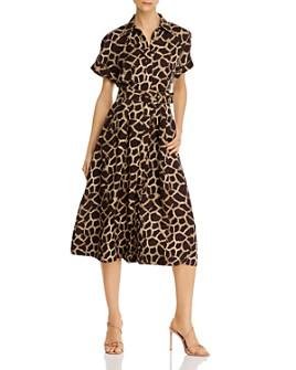Rebecca Vallance - Giraffe-Print A-Line Midi Shirtdress