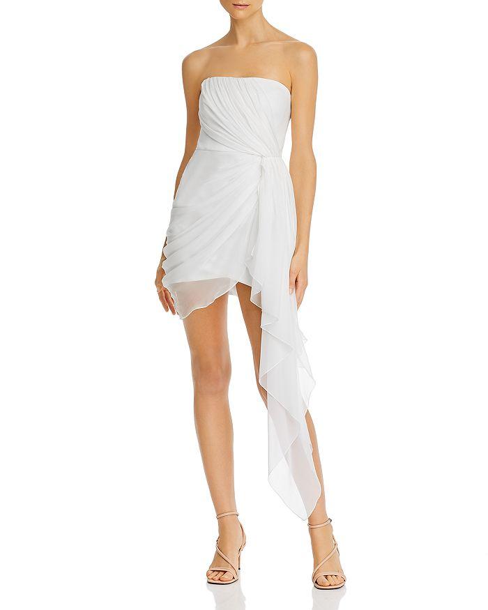 Cinq à Sept - Strapless Draped Chiffon Mini Dress