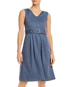 T Tahari - Belted V-Neck Midi Dress