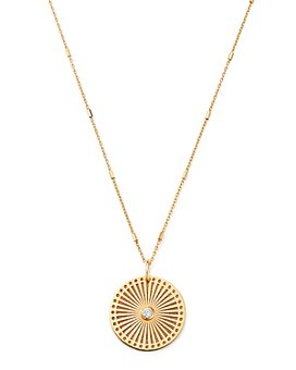 Zoë Chicco - 14K Yellow Gold & Diamond Sunbeam Medallion Pendant Necklace, 18""