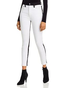 Alice and Olivia - Good High-Rise Color-Block Ankle Skinny Jeans in Day to Night