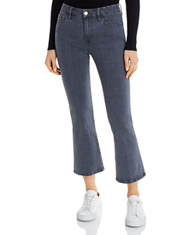 FRAME - Le Crop Mini Boot Jeans in Washed Gray Plaid