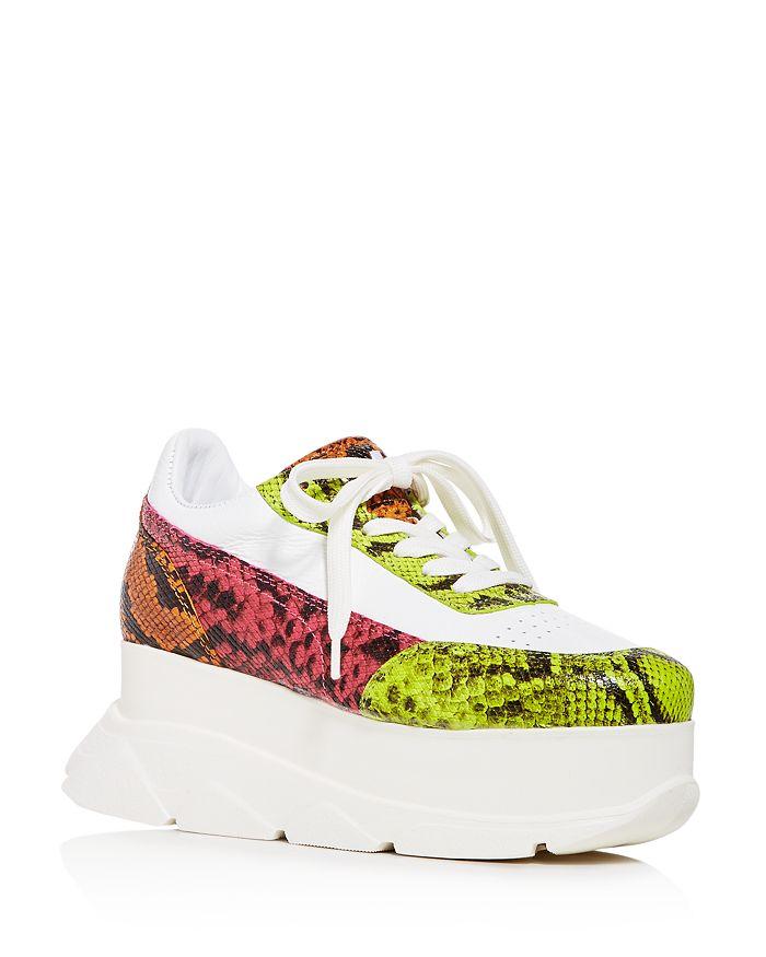Joshua Sanders - Women's Zenith Snake-Embossed Platform Wedge Sneakers
