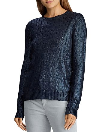 Ralph Lauren - Metallic Cable-Knit Sweater
