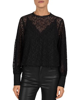 The Kooples - Georgia Lace Keyhole Top