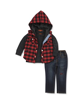 7 For All Mankind - Boys' Long-Sleeve Tee, Checkered Vest & Jeans Set - Little Kid