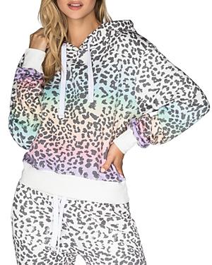 Rainbow Leopard Print Hooded Sweatshirt