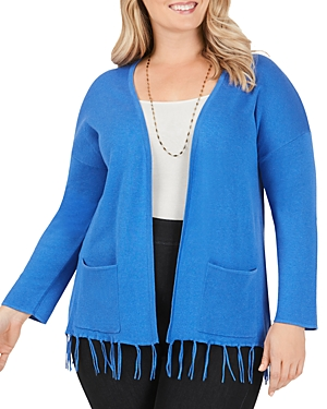 Foxcroft Plus Fringe Trim Cardigan
