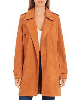 Bagatelle - Bonded-Scuba Faux-Suede Trench Jacket