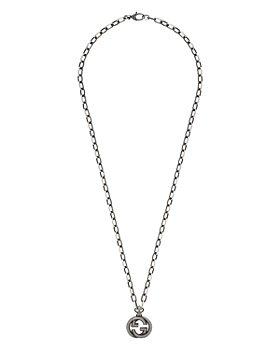 Gucci - Sterling Silver Interlocking Logo Pendant Necklace