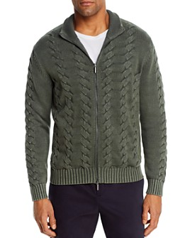 The Men's Store at Bloomingdale's - Cotton Classic Fit Full-Zip Cable Sweater - 100% Exclusive