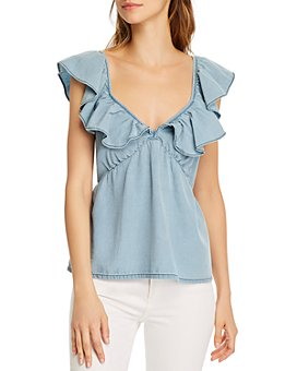 FRENCH CONNECTION - Sisay Ruffled-Neck Top