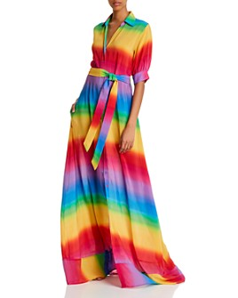 All Things Mochi - Iska Silk Rainbow-Striped Dress
