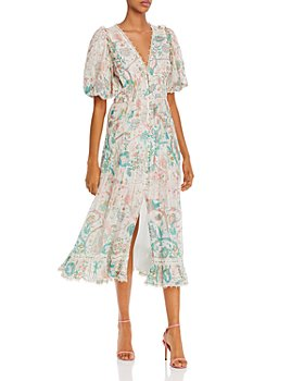 Hemant and Nandita - Printed Lace-Trim Dress