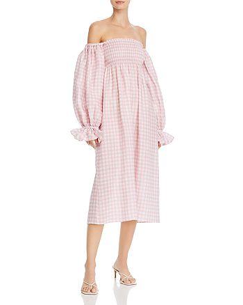 Sleeper - Gingham-Print Smocked Dress