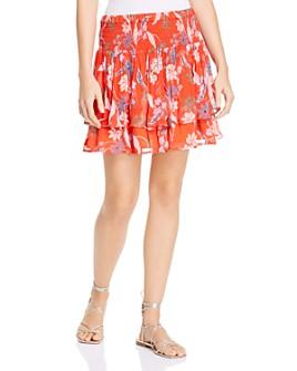 DOLAN - Ellie Floral-Print Smocked Tiered Skirt
