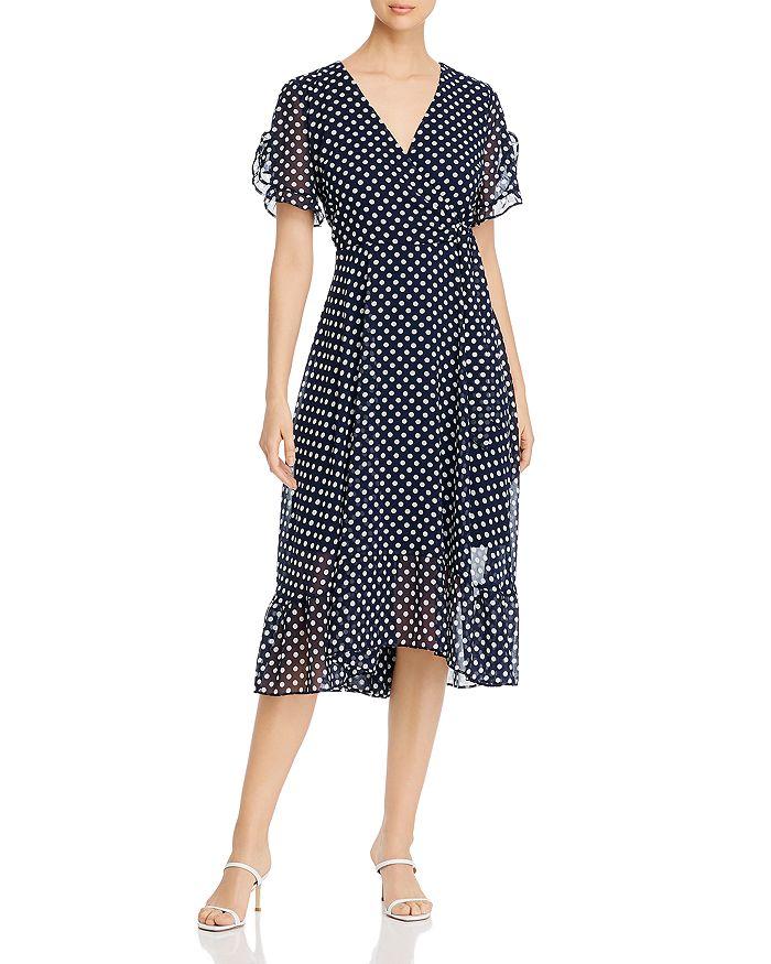 KARL LAGERFELD PARIS - Polka-Dot Chiffon Faux Wrap Dress