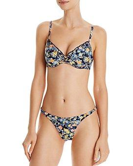Red Carter - Lace-Detail Bikini Top & Shirred-Side High-Leg Bikini Bottom
