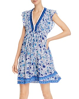 Poupette St. Barth - Floral-Print Flutter-Sleeve Dress