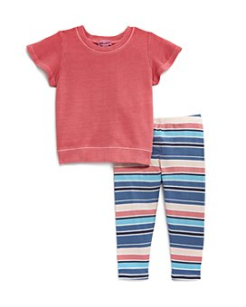 Splendid - Girls' Stitched Tee & Striped Leggings Set