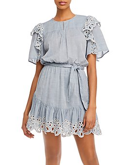 Joie - Safia Cotton Eyelet-Trim Mini Dress
