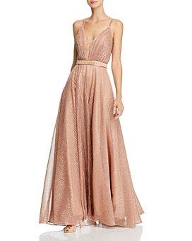 AQUA - Pleated Metallic Gown - 100% Exclusive