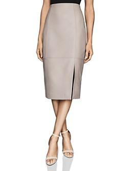 REISS - Grace Leather Pencil Skirt