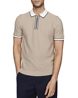 REISS - Tobago Cotton Textured Tipped Zip Polo