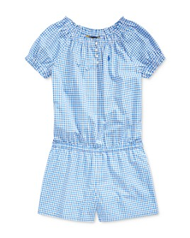 Ralph Lauren - Girls' Gingham Poplin Romper - Big Kid