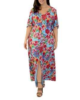 Maree Pour Toi Plus - Maree Pour Toi Plus Floral-Print Peasant Maxi Dress