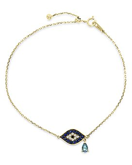 Bloomingdale's - London Blue Topaz, Sapphire & Black & White Diamond Link Bracelet in 14k Yellow Gold - 100% Exclusive