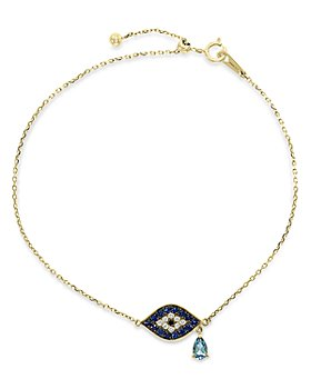 Bloomingdale's - London Blue Topaz, Sapphire & Black & White Diamond Link Bracelet in 14k Yellow Gold - 100% Exclusive