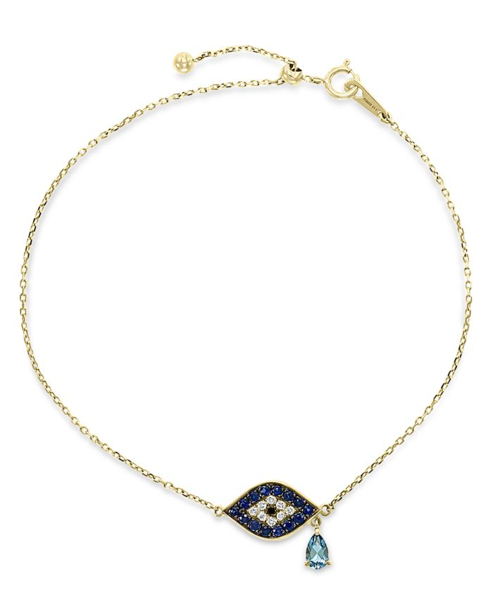 Bloomingdale's London Blue Topaz, Sapphire & Black & White Diamond Link Bracelet in 14k Yellow Gold - 100% Exclusive  | Bloomingdale's