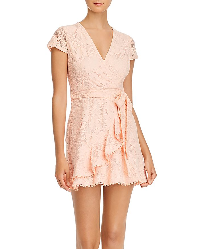 AQUA - Lace Ruffled Faux-Wrap Dress